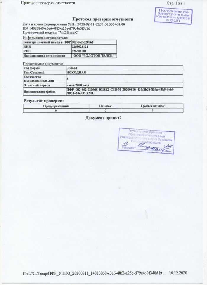 протокол проверки отчетности за июль