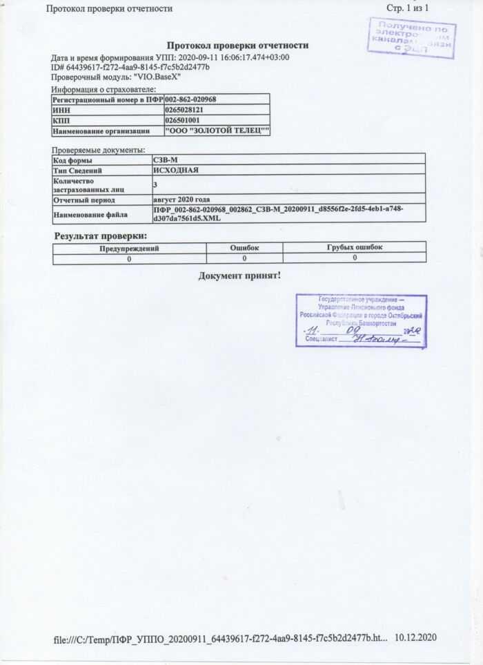 протокол проверки отчетности за август